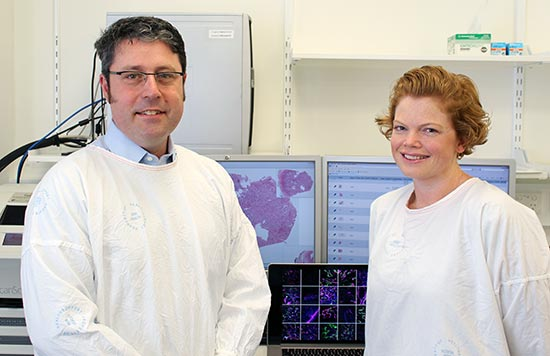 Dr Craig Gedye and MHF brain cancer biobank coordinator Sarah Nielsen.