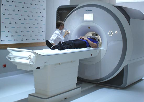 Newcastle Knights  star Jarrod Mullen preparing for a scan in the new  MRI unit.