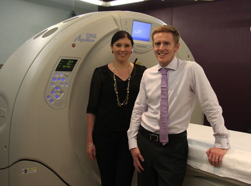 Stroke trial patient Crystal Fitzgibbon with Associate Professor Mark Parsons.