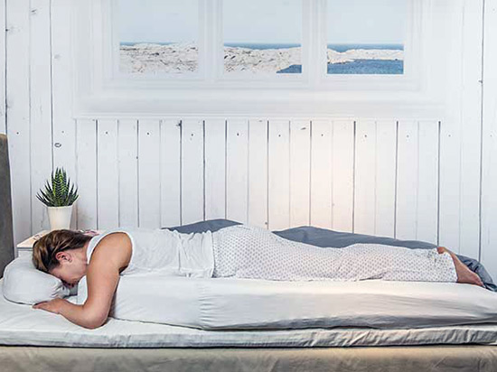 The apnoea management mattress makes sleeping face-down more comfortable