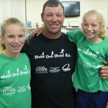 Nick Hinde with his daughters Chloe (left) and Georgie (right).