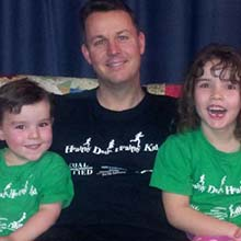 A considerably lighter Adam Reynolds and his kids