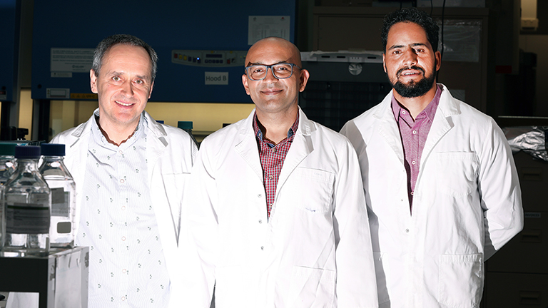 Associate Professor Pradeep Tanwar with fellow researchers Dr Dariusz Alterman, left, and Dr Shafiq Syed.