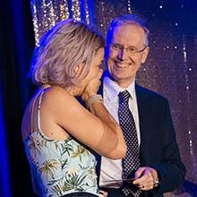 Professor Tom Walley presents Researcher of the Year Award to Professor Frances Kay-Lambkin