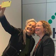 Jill Emberson taking a selfie with Associate Professor Nikola Bowden