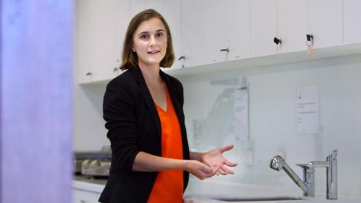 Jessica Stokes-Parish demonstrates effective hand washing